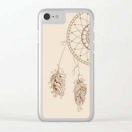 dream catcher with decorated feathers Clear iPhone Case