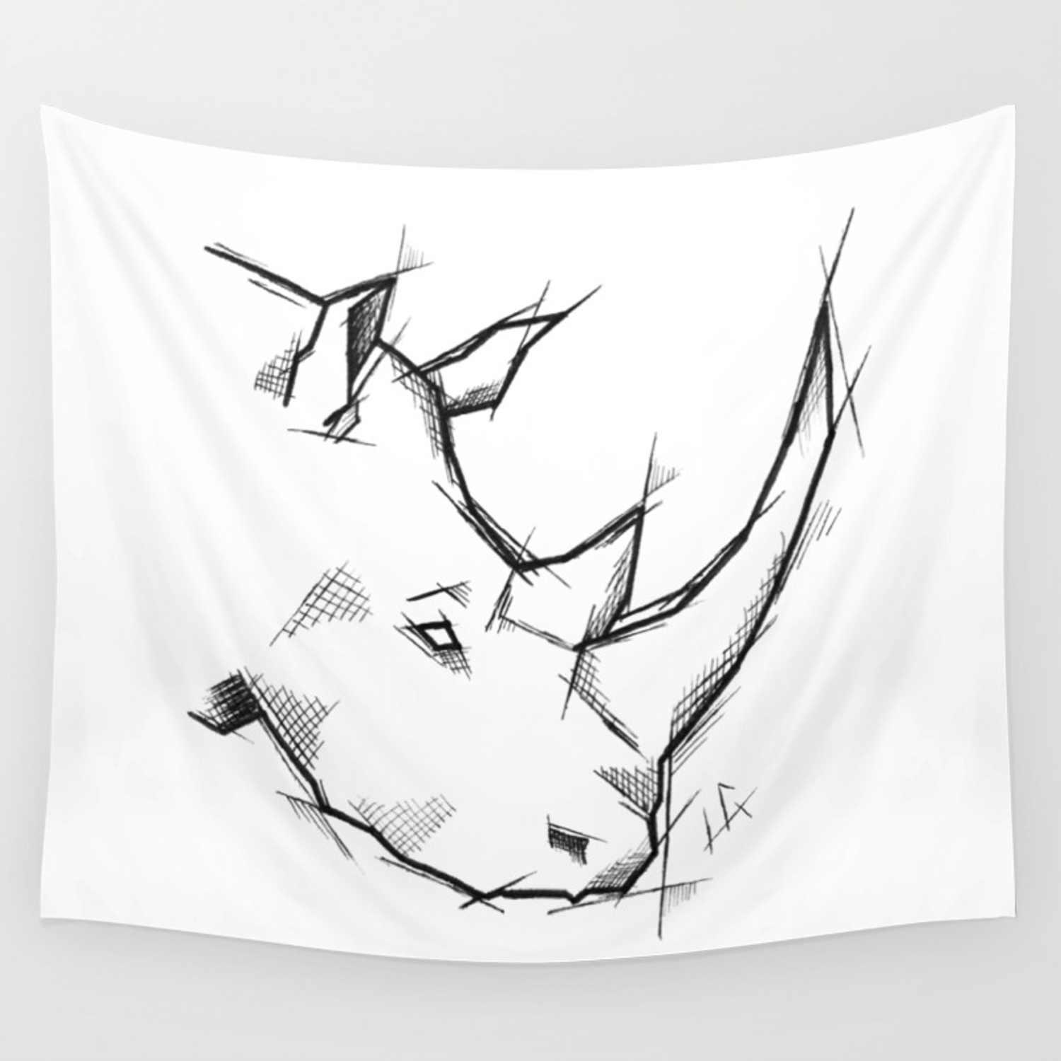 Rhino handmade drawing made in pencil and ink tattoo sketch tattoo flash sketch wall tapestry