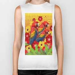 GREEN TROPICAL YELLOW MACAWS & RED YELLOW HIBISCUS Biker Tank