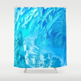 Hoar Frost in Turquoise Shower Curtain
