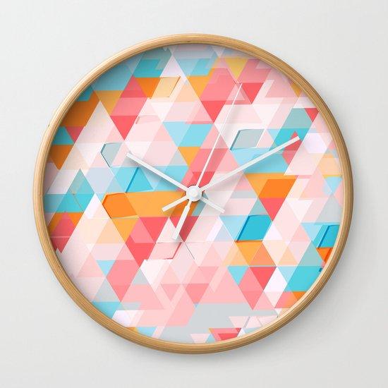 Crumbling triangles Wall Clock