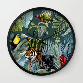 Jungle with tiger and tucan Wall Clock