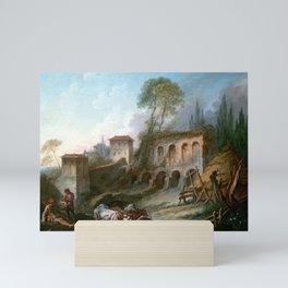 François Boucher Imaginary Landscape with the Palatine Hill from Campo Vaccino Mini Art Print
