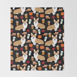 Corgi - Pumpkin Spice, psl, coffee, latte, pumpkin pie,  fall, autumn, holiday, Throw Blanket