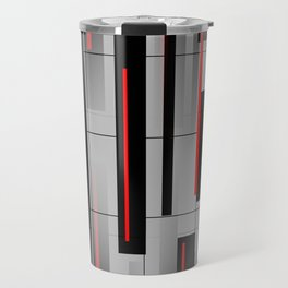 Off the Grid - Abstract - Gray, Black, Red Travel Mug