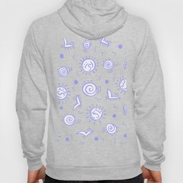 Periwinkle Pattern of Seagulls Suns and Shells Hoody