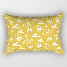 Mid Century Modern Atomic Boomerang Pattern Mustard Yellow Rectangular Pillow