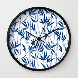 Blue bamboo tree seamless pattern  Wall Clock