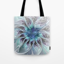 Flourish Abstract, Fantasy Flower Fractal Art Tote Bag