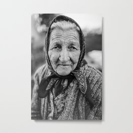 Beautiful Old lady Portrait  Metal Print