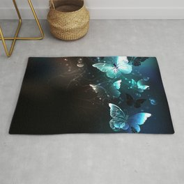Mint Night Butterflies Rug