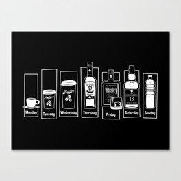 Coffee Whiskey Calendar Canvas Print