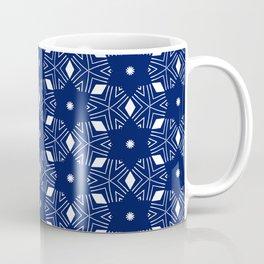 Shibori Stars (white and dark blue) Coffee Mug