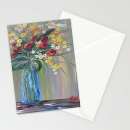Flowers in a Blue Vase Soft Focus Stationery Cards