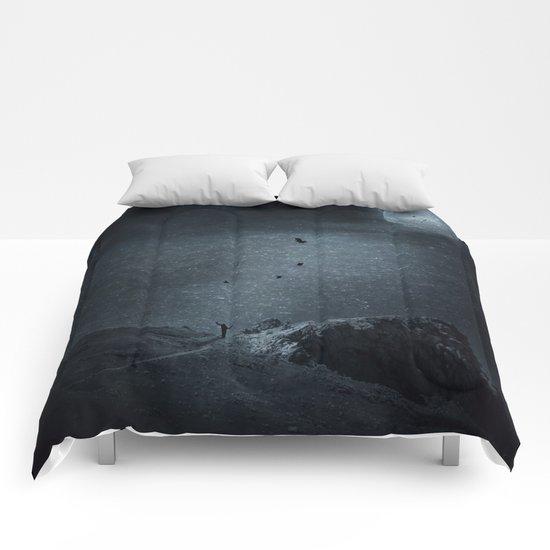 edge of always - dark blue Comforters