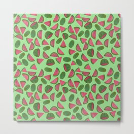 Whole Watermelons Wedged and Sliced Pattern on Mint Green Metal Print