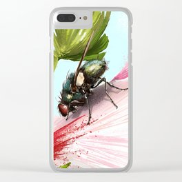 Fly on a flower 15 Clear iPhone Case