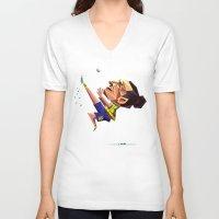 zlatan V-neck T-shirts featuring Minirobguns by Robin Gundersen