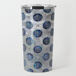 Silver Choku Rei Symbol Reiki Pattern on Pearl Travel Mug