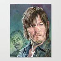 daryl dixon Canvas Prints featuring Daryl Dixon by Mark Satchwill Art