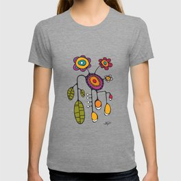 Flower Pot in Color on Teal T-shirt