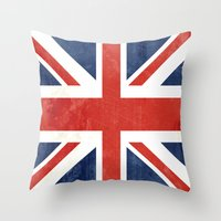 union jack Throw Pillows featuring Union Jack by Laura Ruth