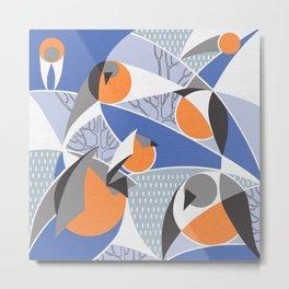 Birds bullfinches in blue, grey and orange colors Metal Print