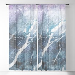 Purple abstract marble Sheer Curtain