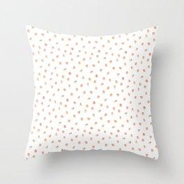 Sweet Peach Polka Dot, White Throw Pillow