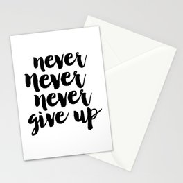 MOTIVATIONAL Poster, Never Never Never Give Up, Workout Print,Teens Room Decor,GYM Decor,Quote Print Stationery Cards