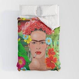 Frida Kahlo Floral Exotic Portrait Comforters