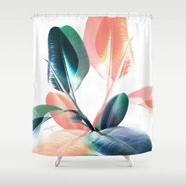 Foliage in Love - Teal & Blush Shower Curtain