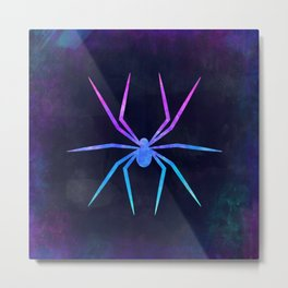 SPIDER IN SPACE // Animal Graphic Art // Watercolor Canvas Painting // Modern Minimal Cute Metal Print