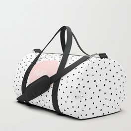 Hello! Black on white Polkadots and pink Typography Duffle Bag