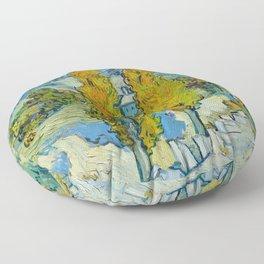 Vincent Van Gogh - The Poplars at Saint-Rémy Floor Pillow