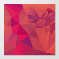 jazzberry Canvas Prints featuring Jazzberry Jam Red Abstract Low Polygon Background by patrimonio