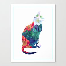 Flowered Cat Canvas Print