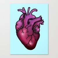 anatomical heart Canvas Prints featuring Anatomical Heart by Hungry Designs