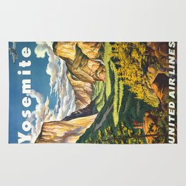 Yosemite National Park Vintage Travel Poster Landscape Illustration Rug