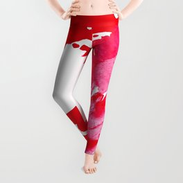 The One Who Came by Water and Blood. Watercolor Red Wave Leggings