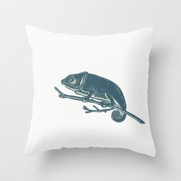 Chameleon On Branch Scratchboard Throw Pillow