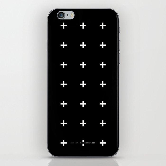 White Plus on Black /// www.pencilmeinstationery.com iPhone Skin