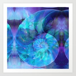Blue Nautilus Shell - Nature's Perfection by Sharon Cummings Art Print