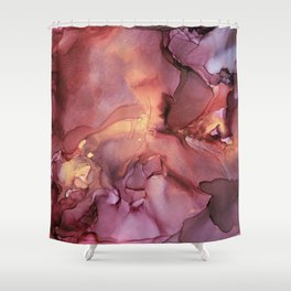 Crimson Red and Gold Flowy Ink Painting Shower Curtain