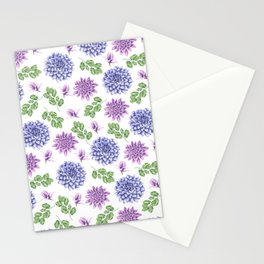 Artistic purple blue green watercolor elegant peonies floral Stationery Cards