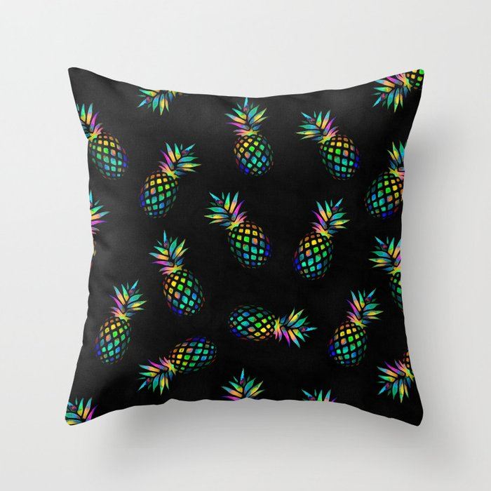 Iridescent pineapples Throw Pillow