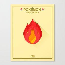 Pokémon Types Badges: Fire Type Canvas Print