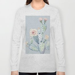 Prettiest Rose Cactus Blue Long Sleeve T-shirt