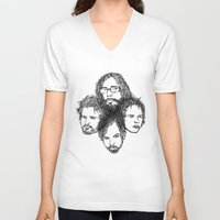 leon V-neck T-shirts featuring Kings of Leon by Simone Rohler Art