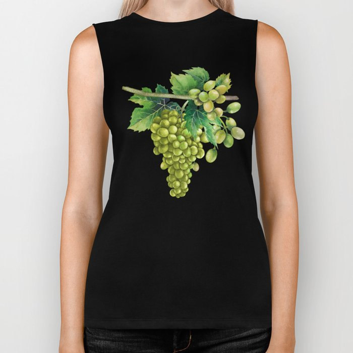 Watercolor bunches of white grapes hanging on the branch Biker Tank